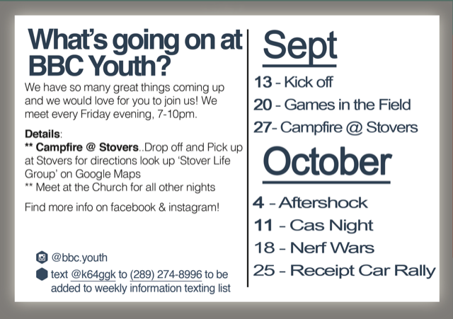 fall 2019 youth schedule
